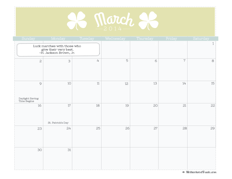 Cute March 2014 Calendar Printable March 2014 Calendar Pdf 222