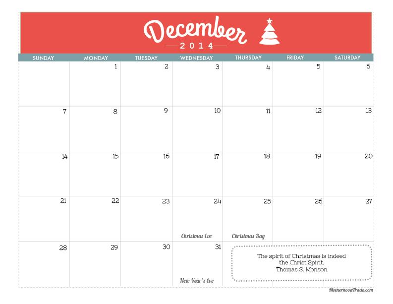 December Calendar 2014 : December calendar tricks of the motherhood trade